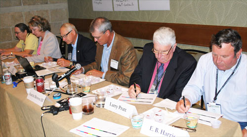 Global Growth Committee members compare beef samples from various countries in a blind tasting exercise