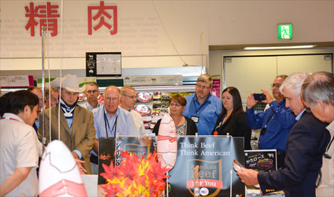 USMEF Heartland Team members check out a U.S. beef display at a Japanese supermarket