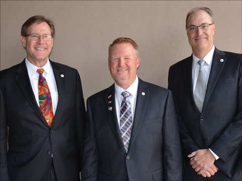 (from left to right) USMEF Vice Chair Mark Swanson, Chair Cevin Jones and Chair-elect Pat Binger. Dean Meyer (not pictured) is the new secretary-treasurer.