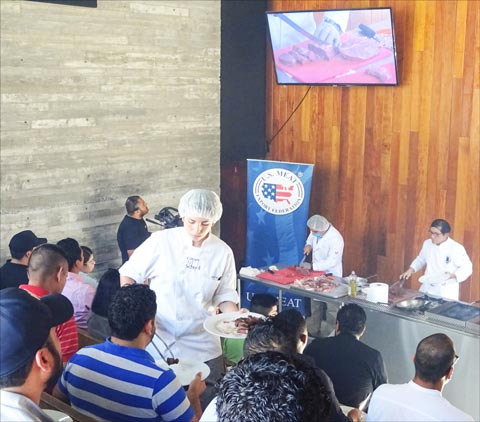 A U.S. beef cutting and cooking seminar in Tijuana, Mexico, included sampling of U.S. beef dishes by clients of a major U.S. beef importer