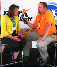 USMEF Chairman Danita Rodibaugh conducts an interview with Tom Brand, executive director of the National Association of Farm Broadcasting