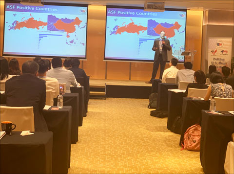Travis Arp, USMEF senior director for export services/access, presents on African swine fever (ASF) during the U.S. meat showcase in Singapore