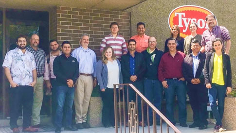 The Mexico-Central America buyer team outside the Tyson Foods plant in Storm Lake, Iowa