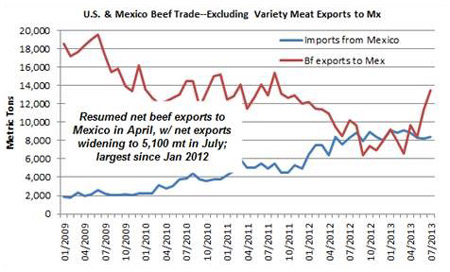 The chart displays the U.S & Mexico Beef imports and exports, excluding variety meat exports to Mexico, from January 2009 through July 2013 in Metric Tons.