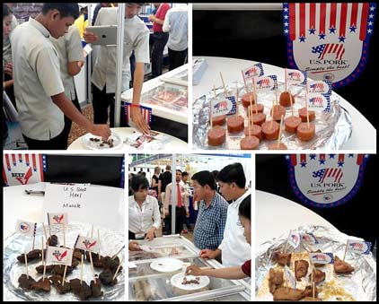 USMEF's booth at CamFood 2015 offered visitors cooking demonstrations and samples of U.S. beef and pork