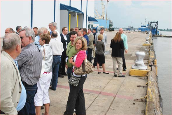USMEF members tour a new facility operated by New Orleans Cold Storage at the Port of New Orleans on the Mississippi River