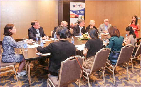 The U.S. pork team took part in a press conference arranged by the National Pork Board
