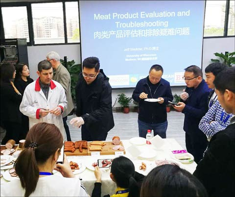 The U.S. Red Meat Processing Technology Forum preceded the U.S. Meat Trader's Club Reception and attracted 100 food industry executives from around China