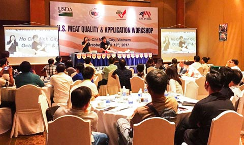 Cutting demonstrations featuring U.S. pork and beef were a big part of the U.S. Red Meat Quality and Application Workshop in Vietnam, which attracted 115 participants from across Southeast Asia