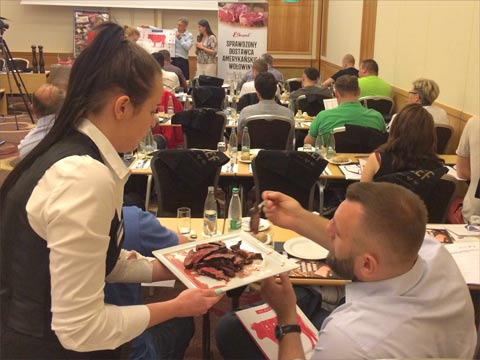 Tasting samples were given to participants at this U.S. beef master class in Warsaw, Poland