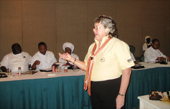 USMEF Caribbean representative Elizabeth Wunderlich addresses chefs and other culinary staff at the Atlantis resort in the Bahamas