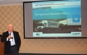 Bill Duggan, vice president of refrigerated services for Maersk Line, speaks at the January unveiling of USMEF's Sub-Saharan Africa project in Atlanta