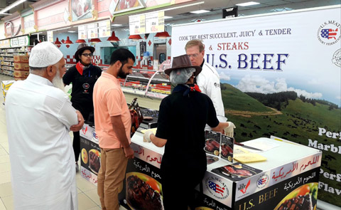 Shoppers were provided information on the attributes of U.S. beef and educated on the quality advantages of chilled U.S. beef