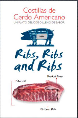 A brochure used by USMEF to educate Peruvian consumers about U.S. pork ribs during the in-store promotions