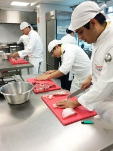 Student chefs in Mexico were trained on how to handle and prepare different cuts of beef and pork