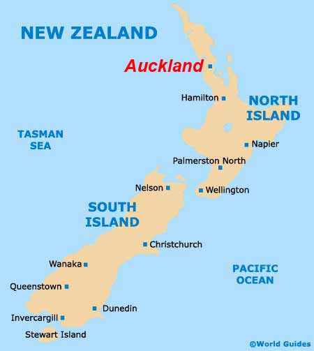 New Zealand Map showing Auckland