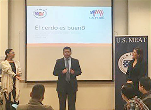 A USMEF seminar for 70 students at the Technological University of Mexico's School of Nutrition in Mexico City shared the attributes of U.S. pork and educated future nutritionists about the role of pork in a healthy diet