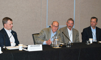 U.S. Meat Export Federation Senior Vice President for Trade Access Thad Lively (second from left) answers a question during the NCBA Cattle Marketing and International Trade Committee meeting at the 2015 Cattle Industry Summer Conference in Denver