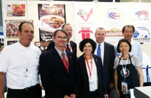 USDA Foreign Agriculture Service (FAS) Administrator Philip Karsting and U.S. Consul General to Vietnam Rena Bitter stop by the USMEF booth  at Food & Hotel Vietnam